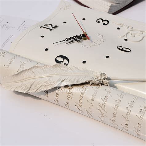 decorative novelty creative silent wall clock small resin book decorative