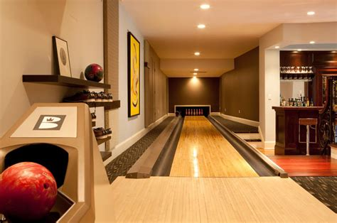 residential home bowling alley contemporary home