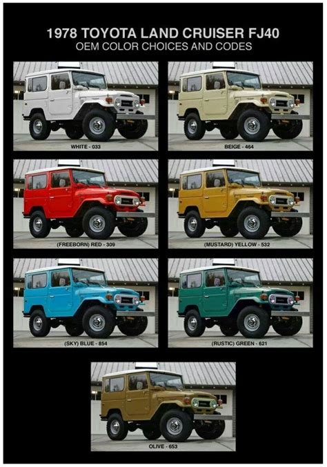 toyota land cruiser fj40 1978 oem color choices and codes bejota40 colors land