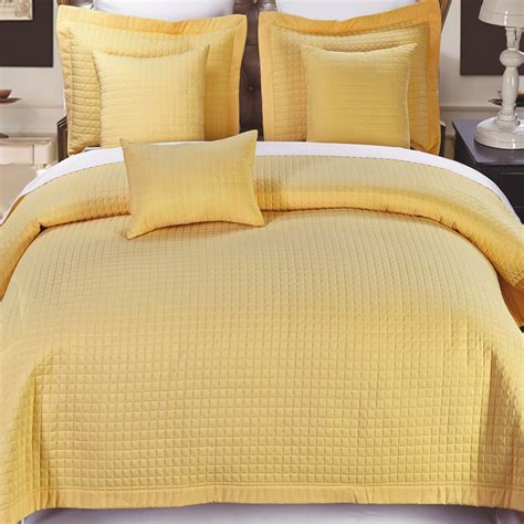 4 Piece Gold Microfiber Twin Coverlet Set Free Shipping