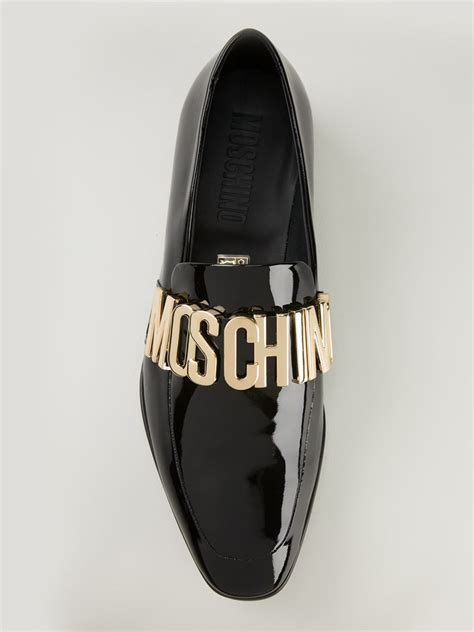 moschino sneakers mens lyst moschino logo plaque slippers in black for