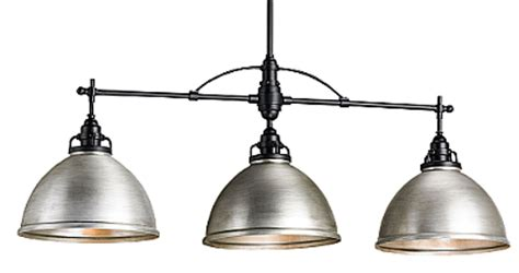 Matching Chandelier And Island Light Industrial Nickel Matching Lights The Designer Insider
