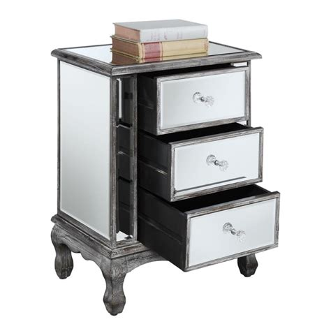 mirrored end tables with drawers 3 drawer mirrored end table 413359wgy