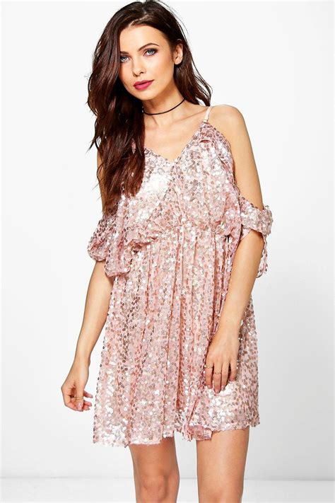 Dresses For All Seasons From Salonkitty by Boohoo Sequin Open Shoulder Skater Dress Lyst