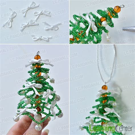 how to make a green seed bead christmas tree ornament with