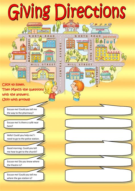 get printable directions giving directions listening interactive worksheet