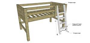 Plans how to build a twin sized low loft bunk with roll out desk