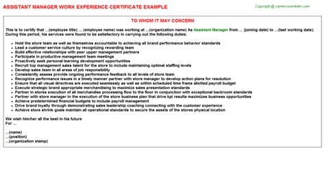 Work Experience Letter Restaurant Manager assistant manager hair salon work experience letters
