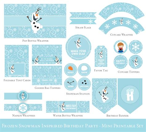 printable olaf birthday decorations frozen birthday printable set olaf birthday party