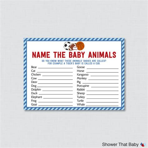 theme names for baby shower sports themed baby shower baby animals name game printable