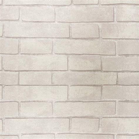 jual wallpaper motif batu bata putih vintage embossed wallpaper brick wall roll modern grey