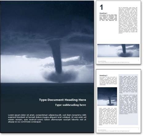 Royalty Free Tornado Microsoft Word Template In Blue Word Presentation Templates