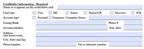 credit card pdf template marriott credit card authorization form template