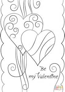 valentine s day card quot be my valentine quot coloring page