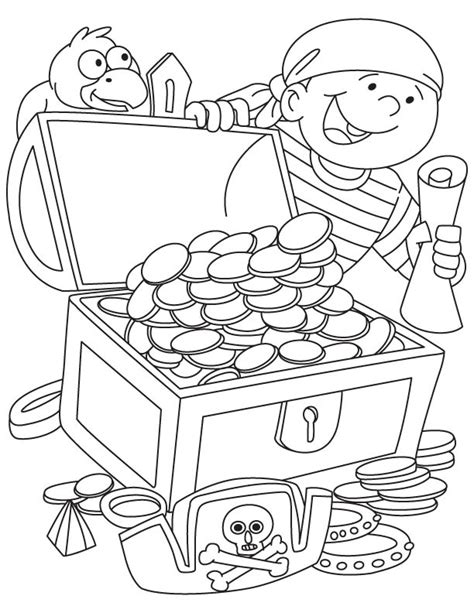 pirate got treasure chest coloring page download free