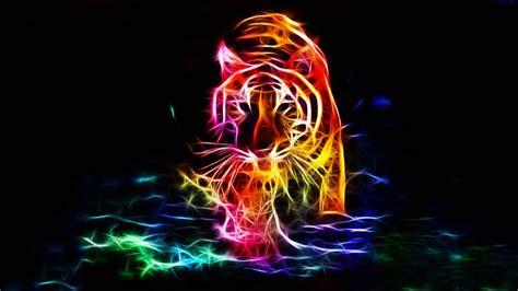 3d color 3d walking tiger color 4k background wallpapers hd