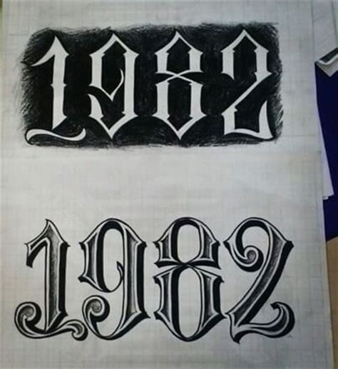 tattoo numbers old school chicano lettering sogni ad occhi aperti pinterest