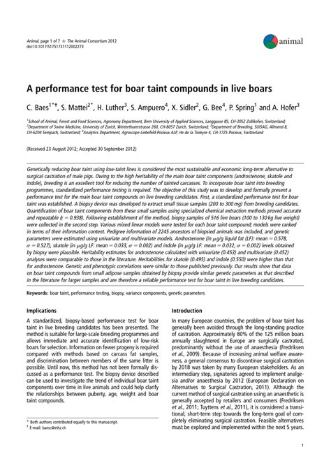 (PDF) A performance test for boar taint compounds in live