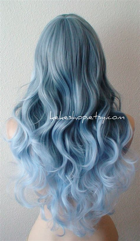 silver blue long hair pictures photos and images for facebook lace front wig ombre wig blue ombre wig pastel silver blue
