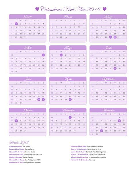 Peru Calendario 2018 Calendario Per 250 A 241 O 2018 Feriados