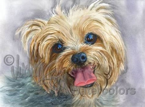 yorkie painting yorkie terrier print of watercolor painting signed clancy ebay