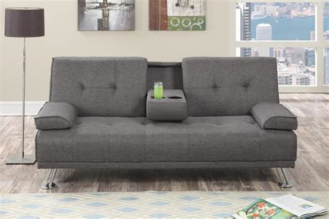 Grey Fabric Futon   Steal A Sofa Furniture Outlet Los
