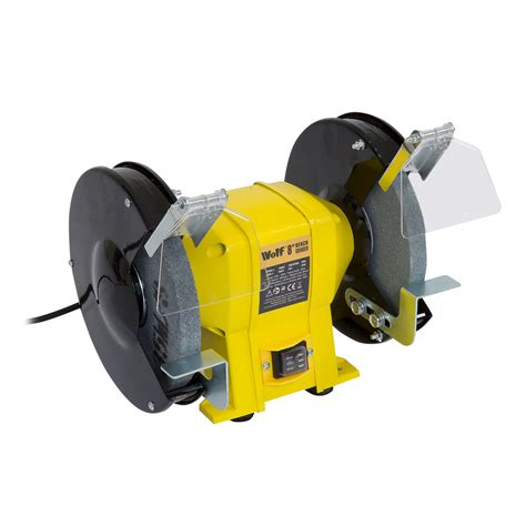 wolf bench grinder wolf 8 quot 350w dual twin grinding stone bench grinder 200mm