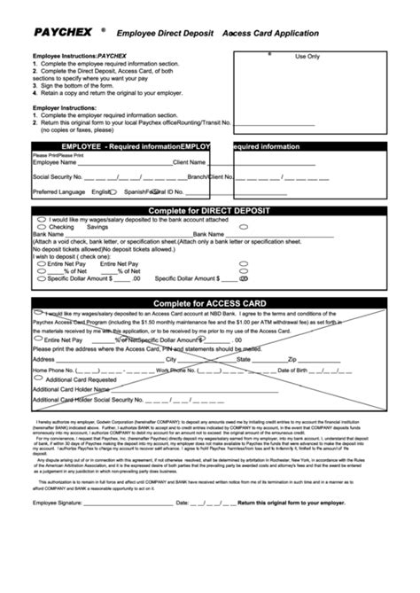 access card form template employee direct deposit access card application form