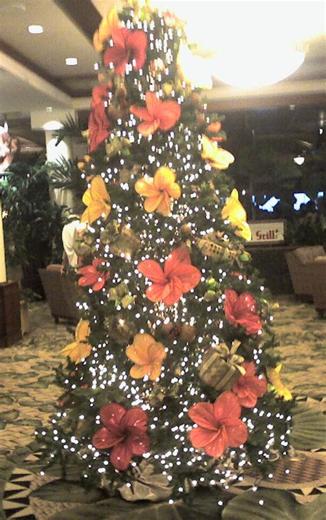 christmas tree with flowers in hawaii christmas pinterest
