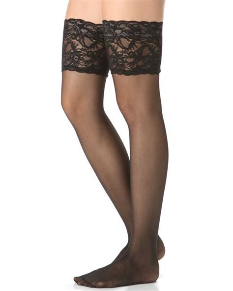 summers white lace top hold ups in black falke seidenglatt lace stay ups in black lyst