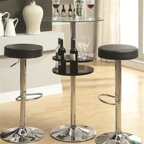 Black Bar Table Coaster Black Bar Table With Tempered Glass Top And Storage 120715