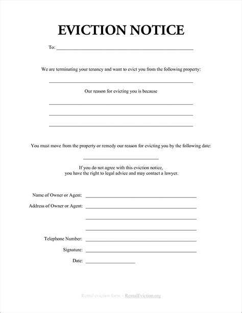 printable eviction notice ontario notice of eviction form ontario form resume exles