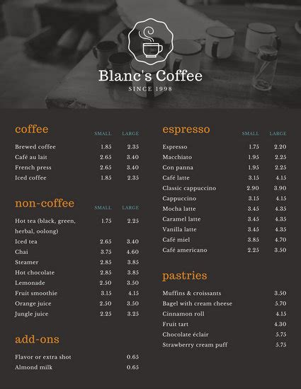 coffee shop menu templates canva