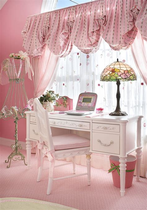 white bedroom with pink valance and curtains traditional white desk kids traditional with built in transitional