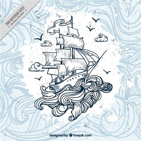 dibujo barco con olas fondo de barco dibujado a mano con olas vector gratis