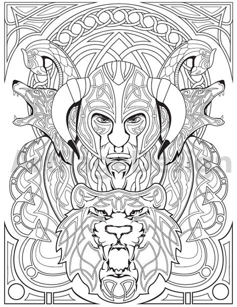 viking coloring pages pdf items similar to viking warrior celtic pattern coloring