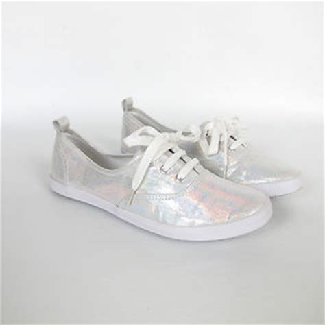 h m holographic hologram silver metallic tennis sneakers 7