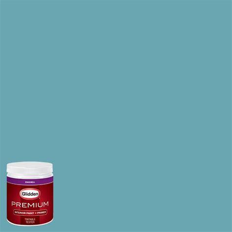 glidden premium 8 oz hdgb34 deepest aqua eggshell interior paint with primer tester hdgb34p