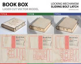 pattern lock model wooden book box with sliding bolt latch vector model