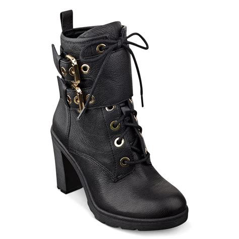 combat high heel boots guess s finlay high heel combat booties in black lyst