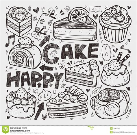 cake doodle free doodle cake element stock vector illustration of muffin