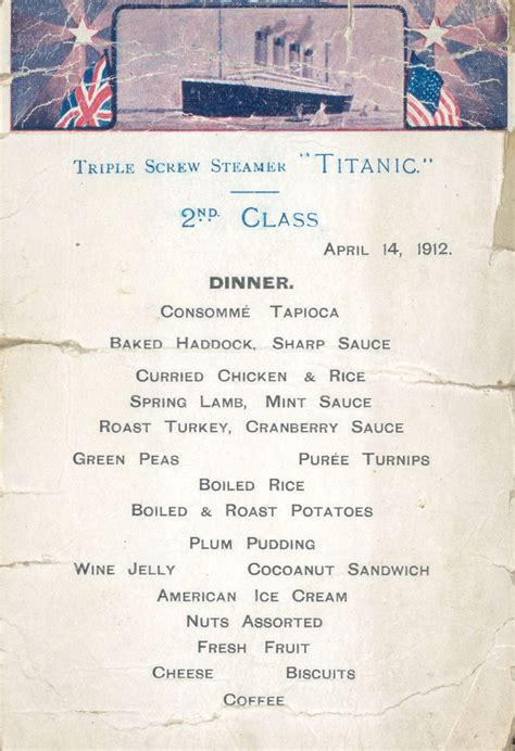 titanic menus second class dinner menu from the last night on the rms