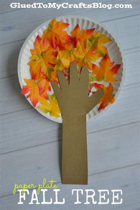 Paper Plate Fall Crafts - paper plate fall tree kid craft