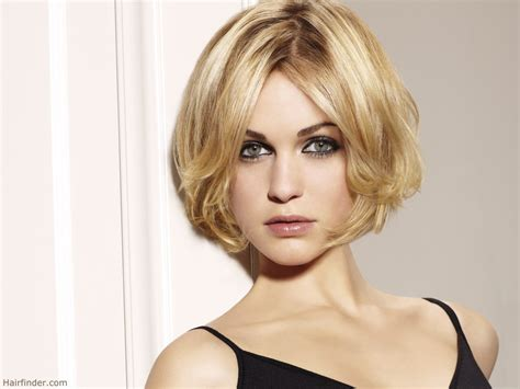 rounded layer haircuts short blonde hairdo with a round shape and center part