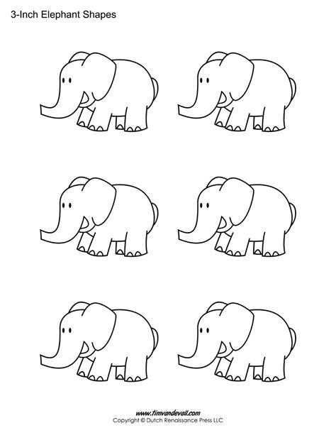 printable white elephant numbers printable elephant templates elephant shapes for kids