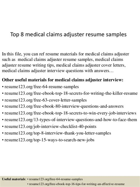 claims adjuster resume sle top 8 claims adjuster resume sles