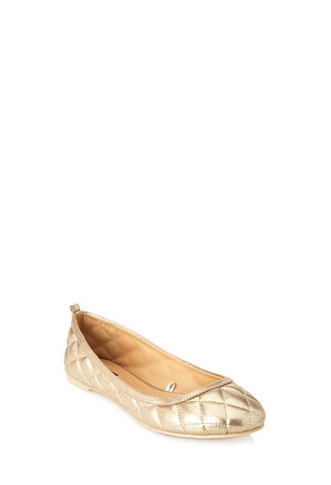 forever 21 flat shoes forever 21 quilted ballet flats in metallic lyst