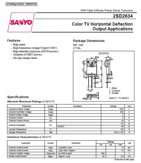 horizontal output transistor meaning 2sd2634 d2634 transistor for color tv horizontal deflection output with der diode