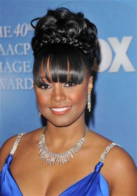 types of updo hairstyles with bangs african amer celebrity updos vissa studios