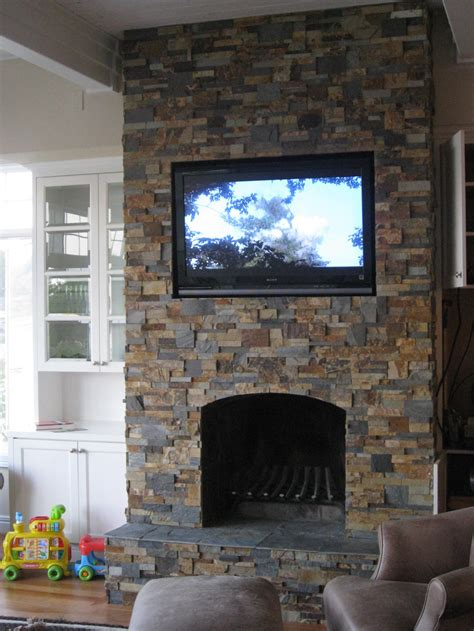 stacked stone for a fireplace simple home decoration